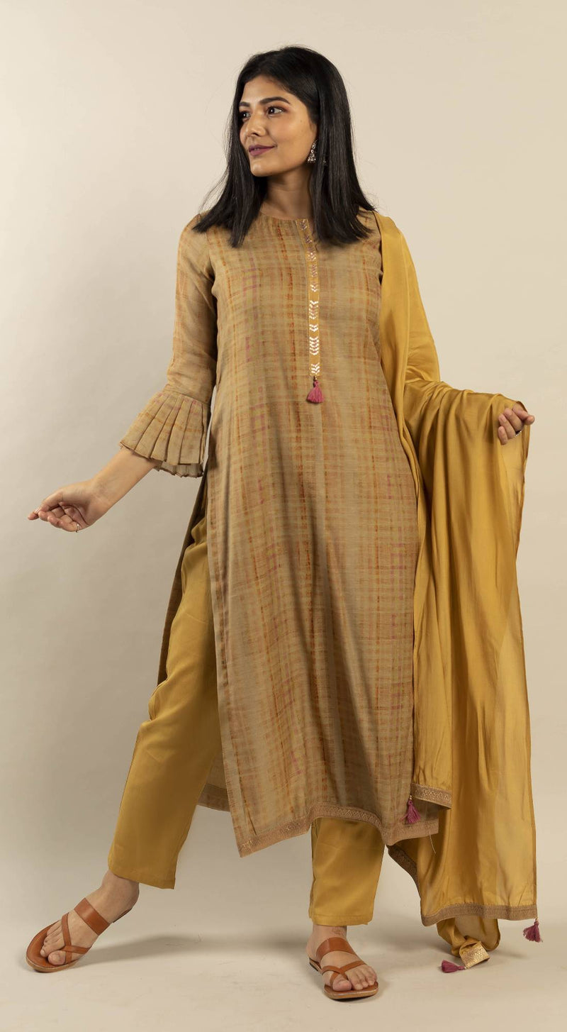 Unstitched Watercolour Texture Kurta set with Dupatta