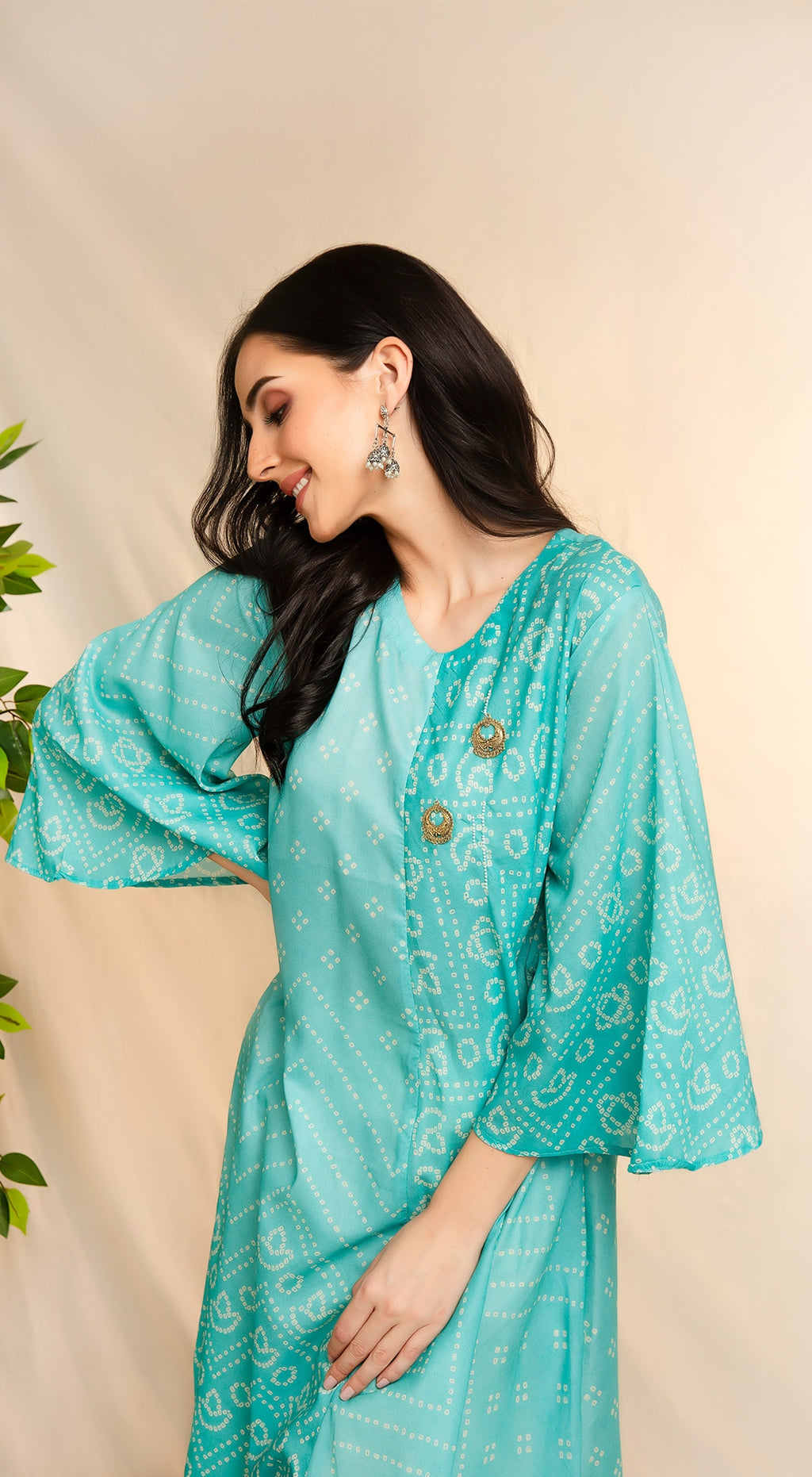 Coloured bandhani assymetric kurta