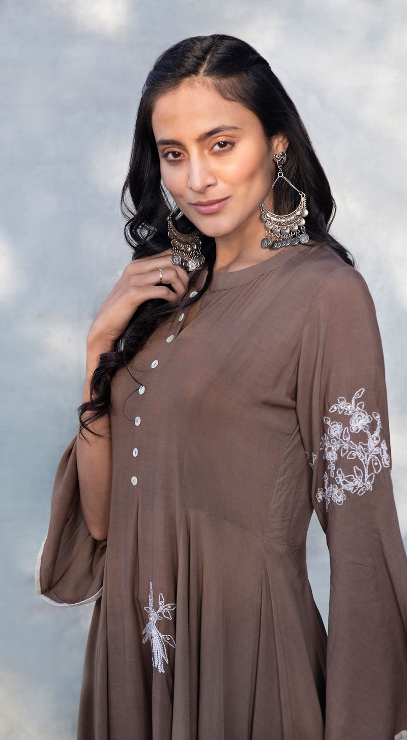 High low embroidered middi tunic