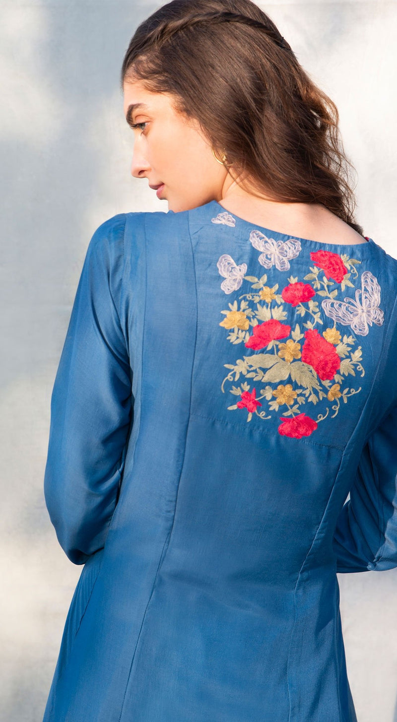 Rose embroidered tunic