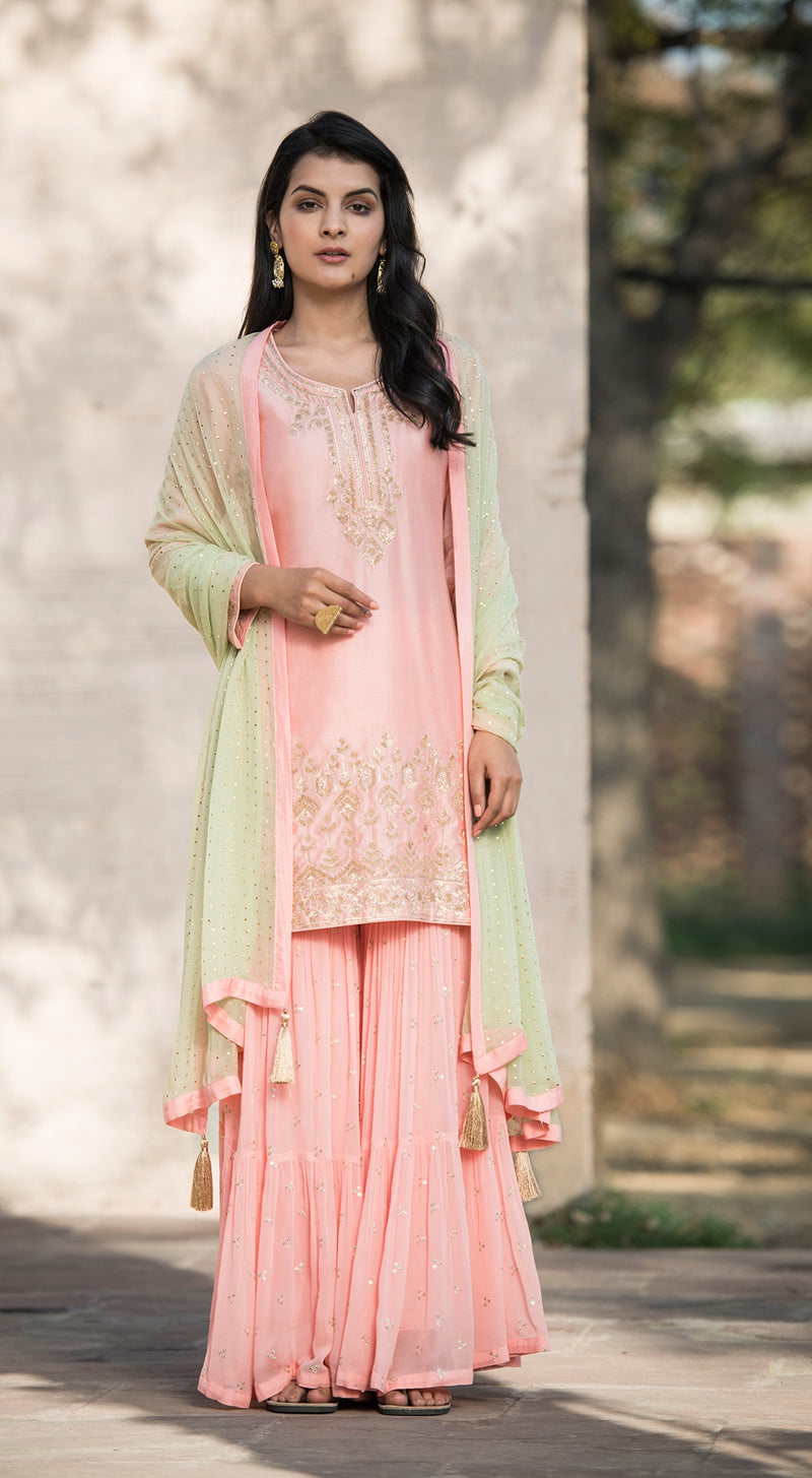 Embroidered Kurta Sharara Set with contrast dupatta