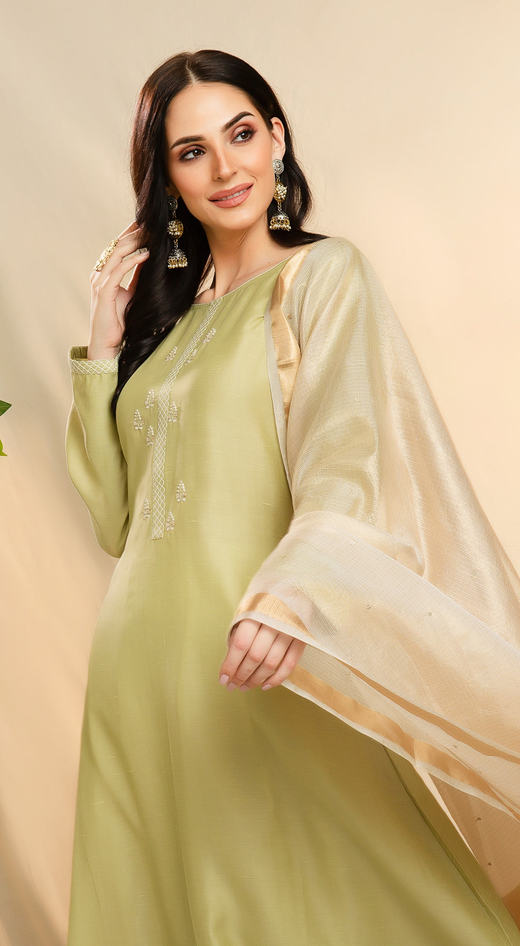 Linen Embroidered Kurta Set with Contrast Dupatta