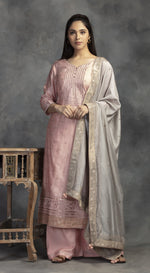 Embroidered suit with embroidered dupatta