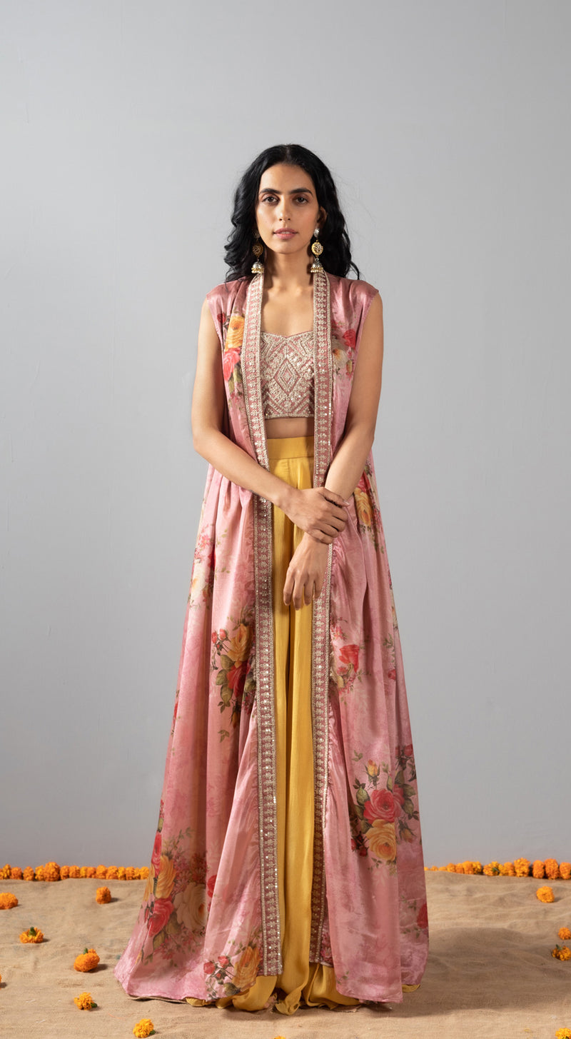 Embroiderd sharara set with a cape