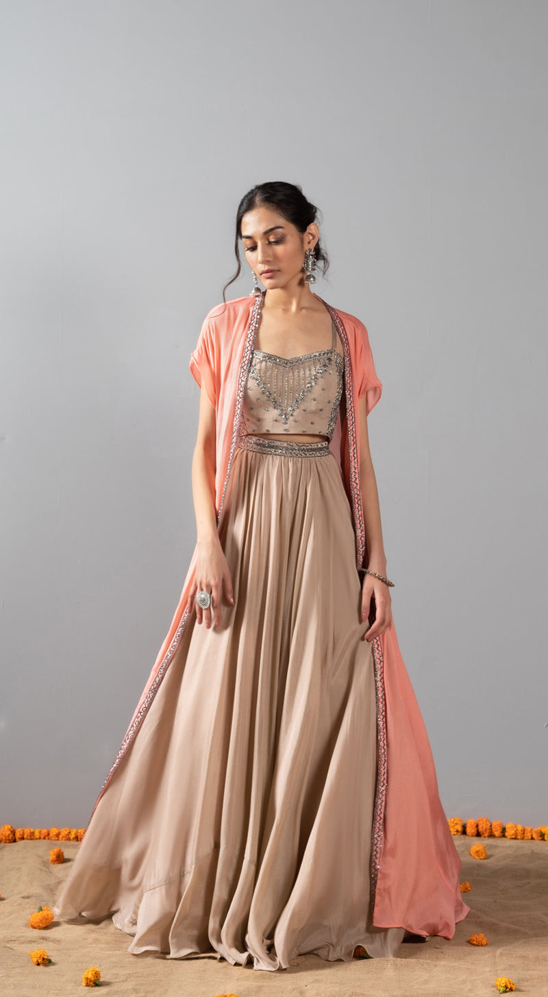 Embroidered lehenga set with a cape