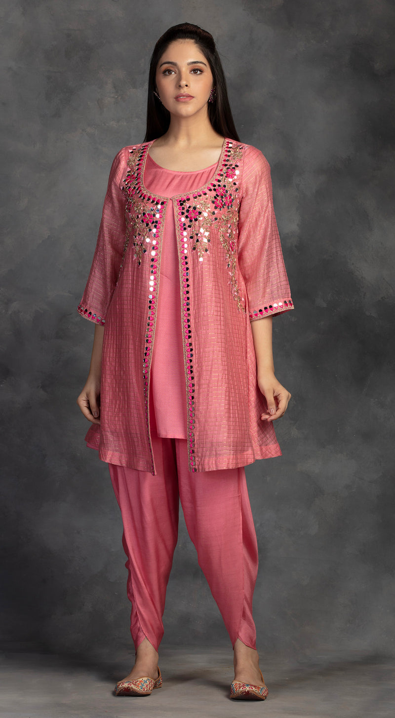 Pink Embroidered Tunic With Dhoti Pants - PINK