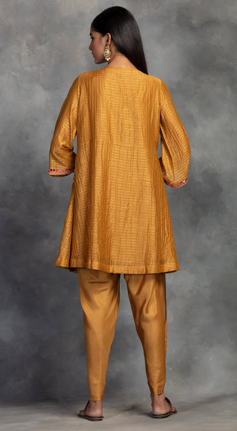 Yellow Embroidered Tunic With Dhoti Pants - Mustard