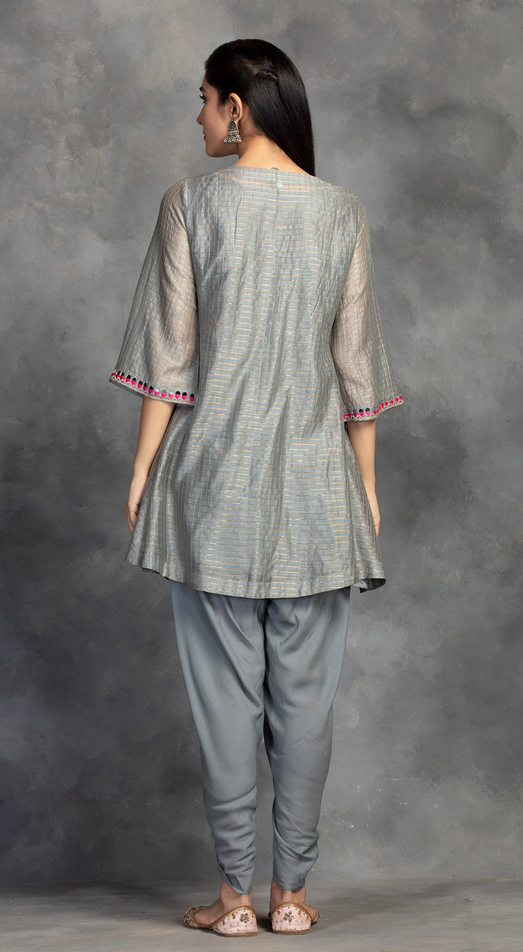 Grey Embroidered Tunic With Dhoti Pants - Grey