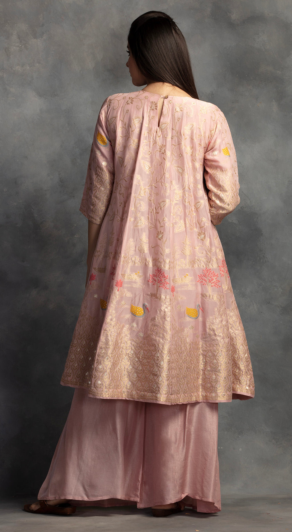 Weaved Banarsi Kurta Set - Pink
