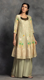 Weaved Banarsi Kurta Set - Green