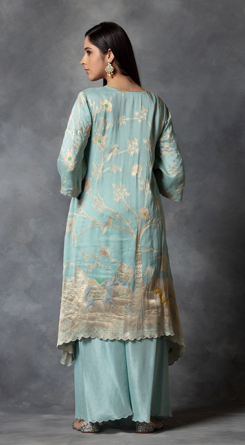 Asymmetric Banarsi Kurta Set - Off White