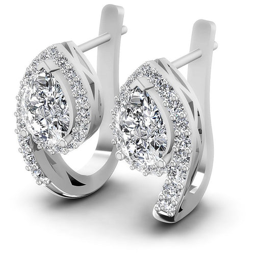 Round and Pear Diamonds 1.70CT Earring in 14KT White Gold