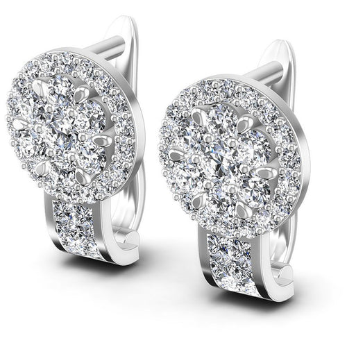 Princess and Round Diamonds 1.20CT Earring in 14KT White Gold
