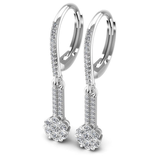 Round Diamonds 0.90CT Earring in 14KT White Gold