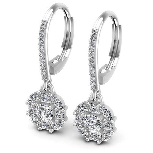 Princess and Round and Marquise Diamonds 1.40CT Earring in 14KT White Gold