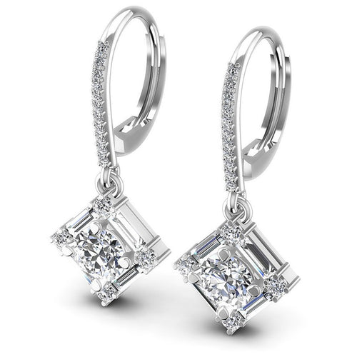 Baguette and Round Diamonds 3.00CT Earring in 14KT White Gold