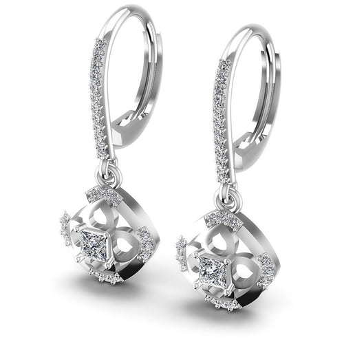 Princess and Round Diamonds 0.80CT Earring in 14KT White Gold