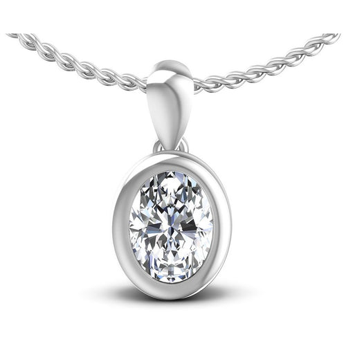 Oval Diamonds 0.35CT Solitaire Pendant in 14KT White Gold