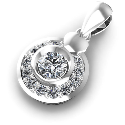 Round Diamonds 0.50CT Halo Pendant in 14KT Rose Gold