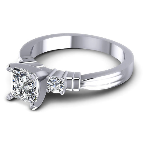 0.55CT Princess And Round  Cut Diamonds Engagement Rings