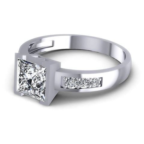 0.60CT Princess And Round  Cut Diamonds Engagement Rings