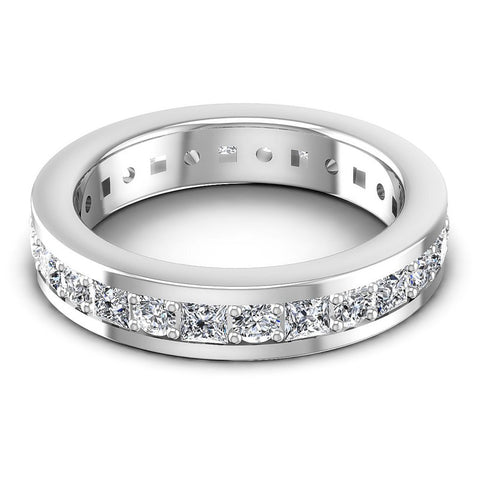 Princess and Round Diamonds 2.10CT Eternity Ring in 14KT Rose Gold