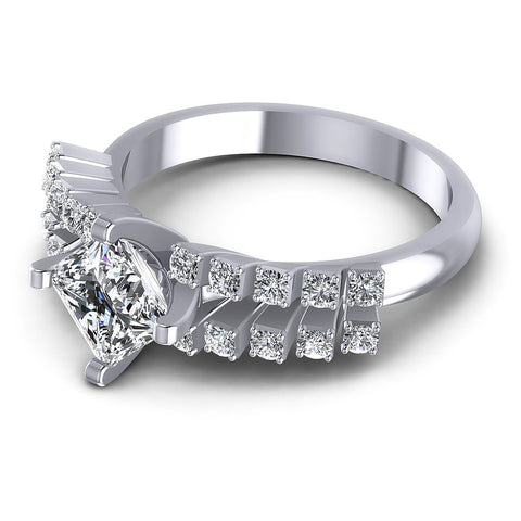 0.70CT Princess And Round  Cut Diamonds Engagement Rings