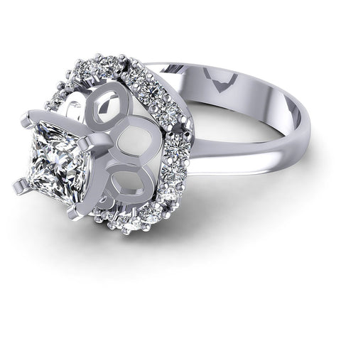 0.85CT Princess And Round  Cut Diamonds Engagement Rings