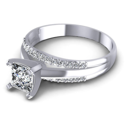 0.65CT Princess And Round  Cut Diamonds Engagement Rings