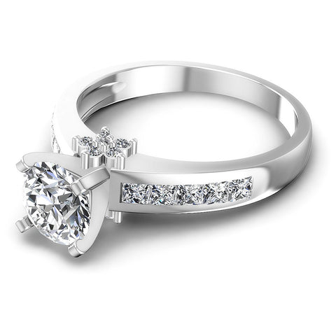 1.15CT Round And Princess  Cut Diamonds Engagement Rings