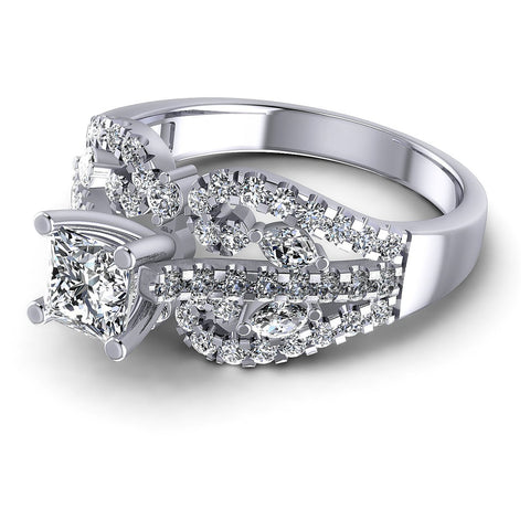 1.25CT Princess And Round And Marquise  Cut Diamonds Engagement Rings