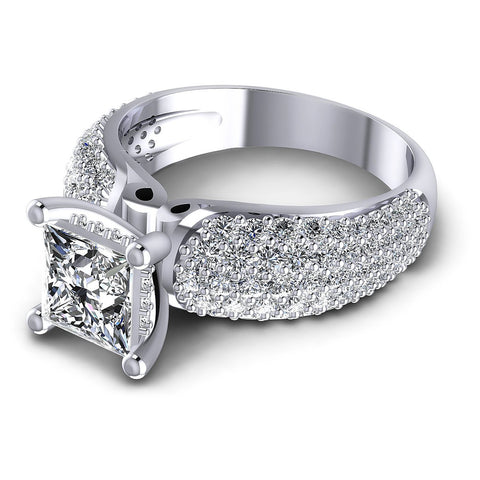 1.35CT Princess And Round  Cut Diamonds Engagement Rings