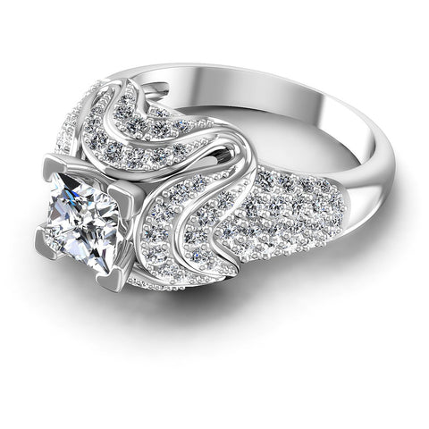1.30CT Princess And Round  Cut Diamonds Engagement Rings