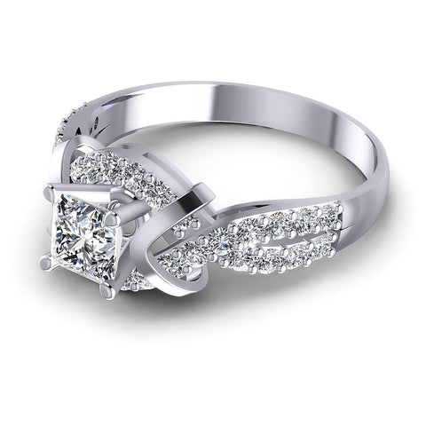 1.05CT Princess And Round  Cut Diamonds Engagement Rings