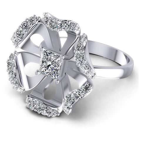 1.15CT Princess And Round  Cut Diamonds Engagement Rings
