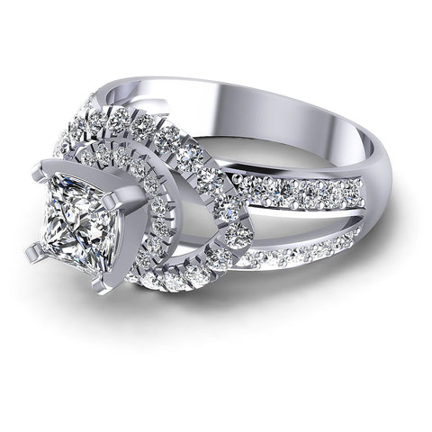 1.25CT Princess And Round  Cut Diamonds Engagement Rings