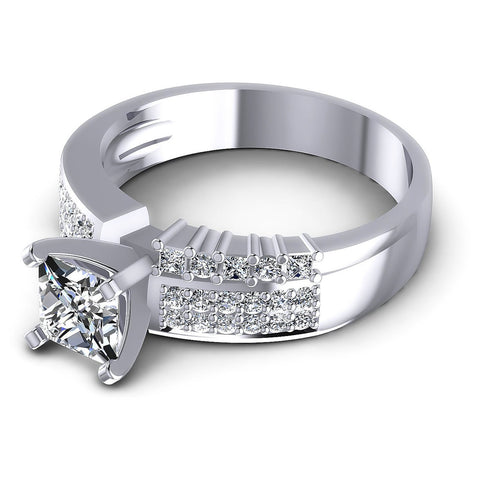 0.80CT Princess And Round  Cut Diamonds Engagement Rings