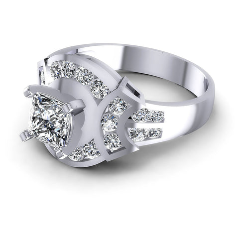 0.95CT Princess And Round  Cut Diamonds Engagement Rings