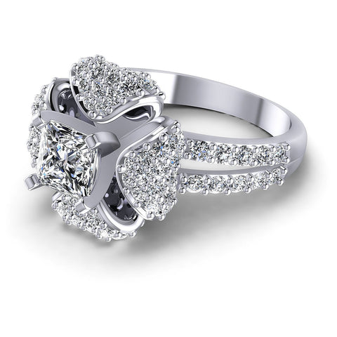 1.40CT Princess And Round  Cut Diamonds Engagement Rings