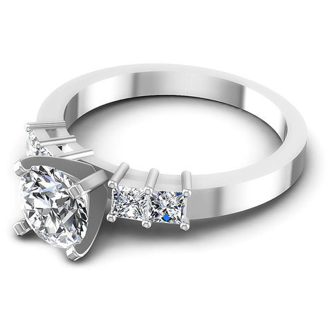 0.90CT Round And Princess  Cut Diamonds Engagement Rings