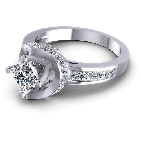 0.90CT Princess And Round  Cut Diamonds Engagement Rings