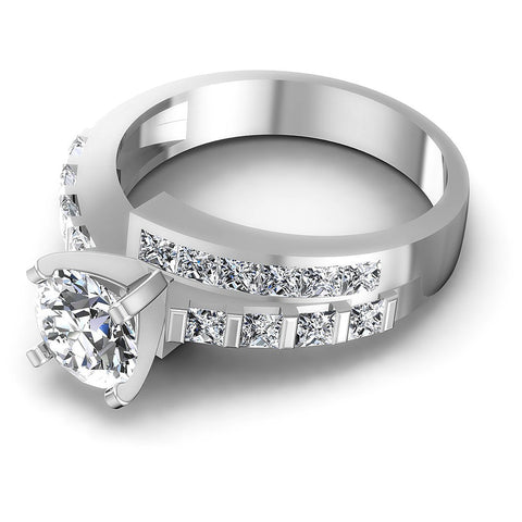 1.55CT Round And Princess  Cut Diamonds Engagement Rings