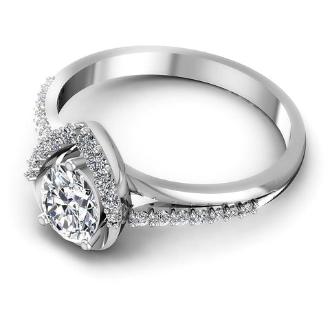0.55CT Oval And Round  Cut Diamonds Engagement Rings