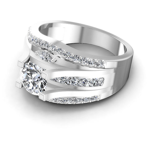 1.40CT Round And Princess And Marquise  Cut Diamonds Engagement Rings