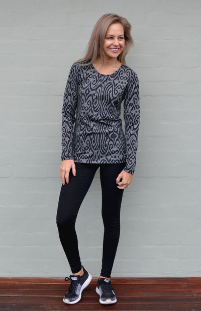 Round Neck Patterned Top