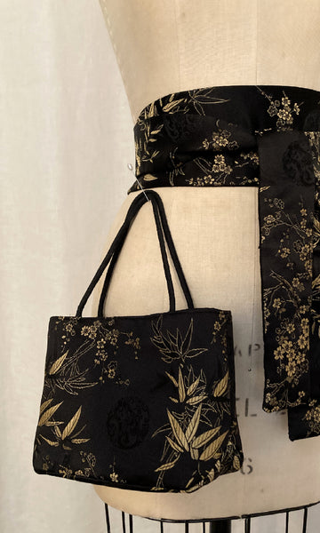 Black & Gold Brocade Mini Tote