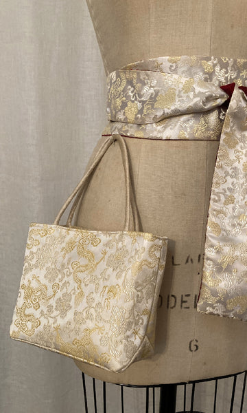 Ivory Dragon Brocade Mini Tote