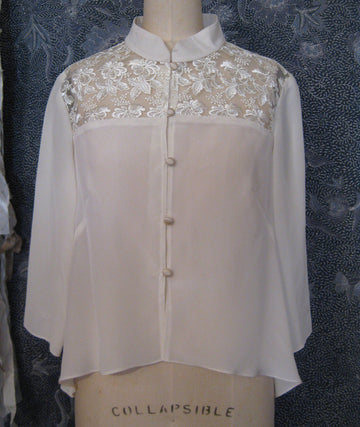 Blush Silk Blouse with Lace Yoke, size X-small