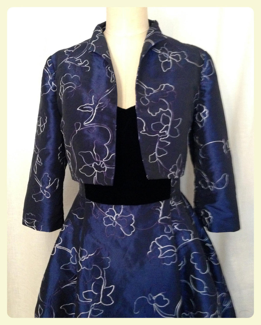 Navy Embroidered Taffeta