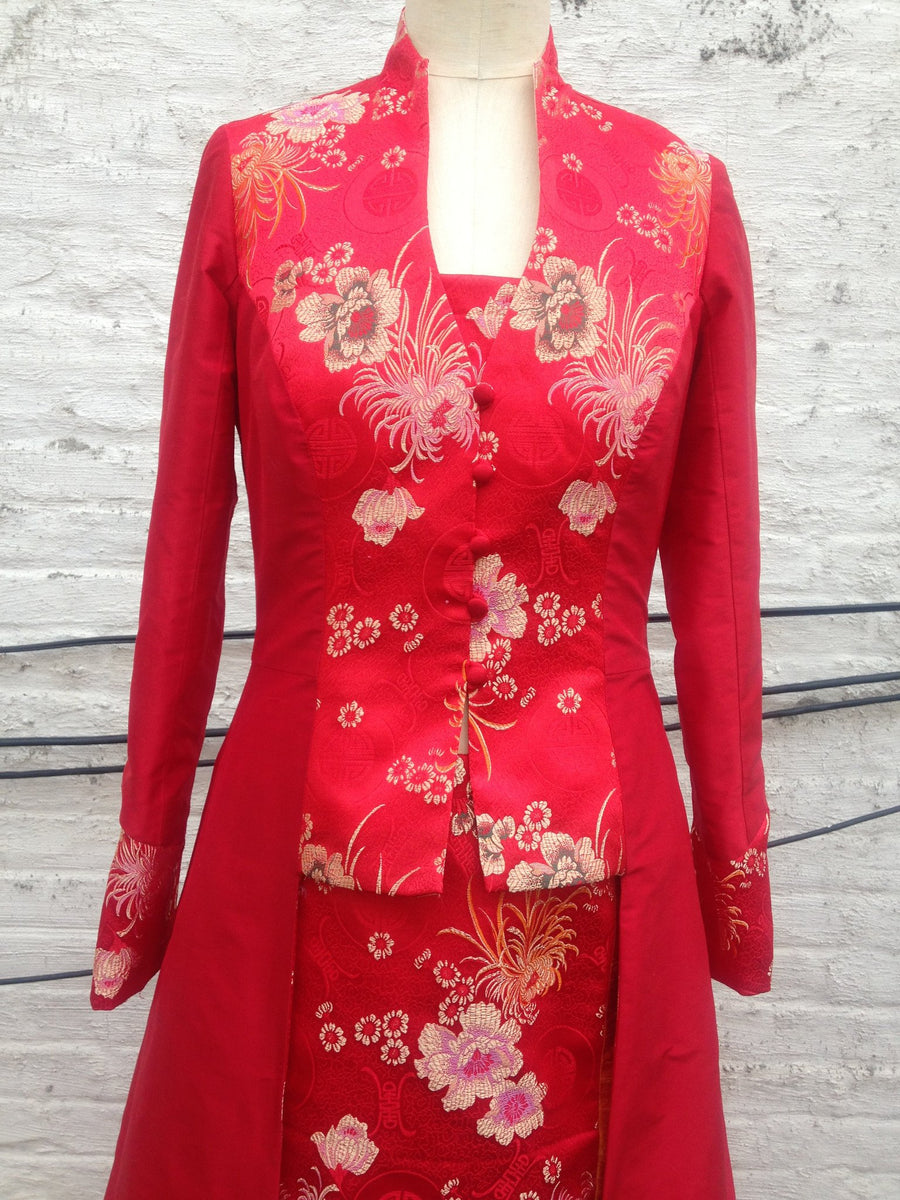 Long Shantung & Brocade Evening Coat
